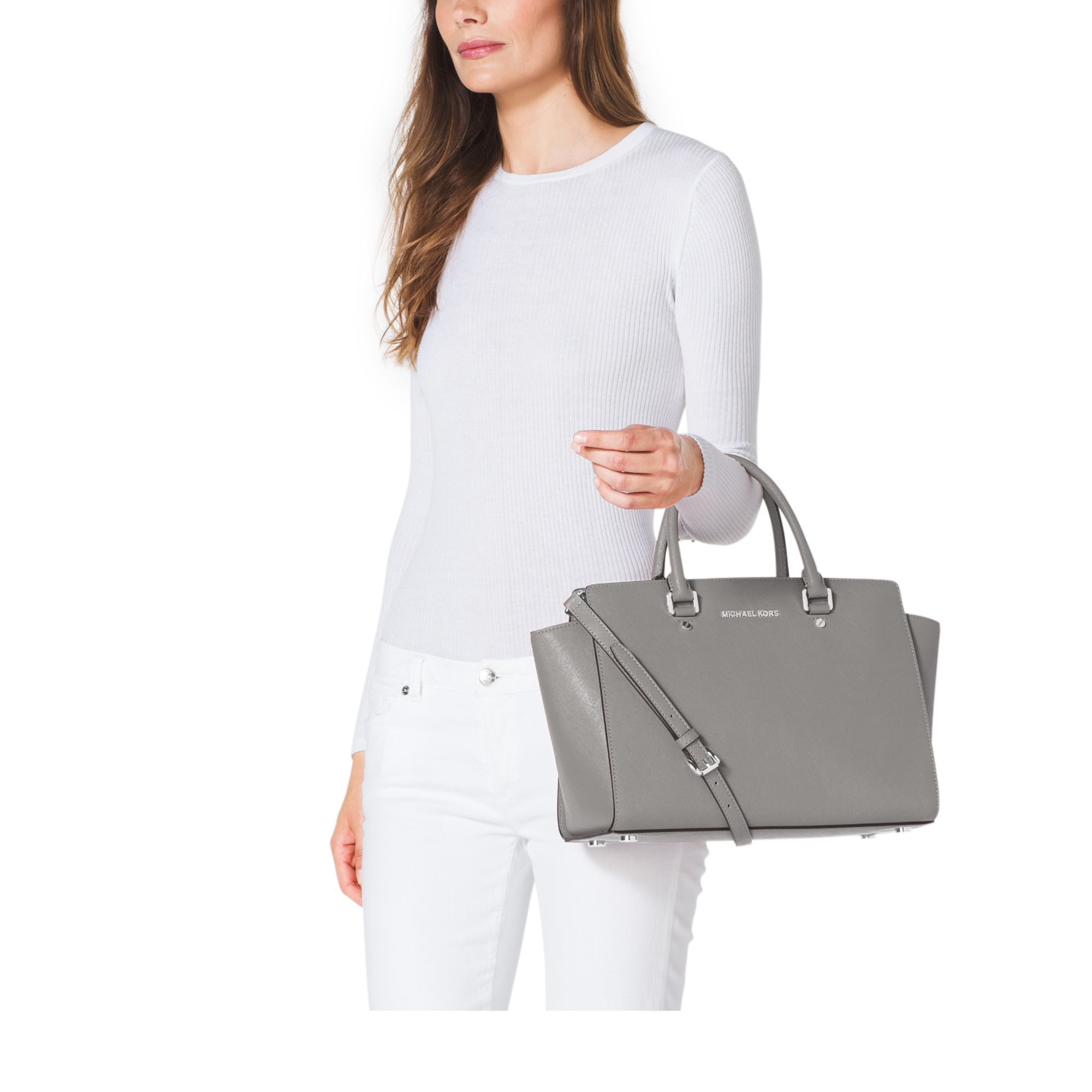 137cf76783d8 Michael Kors Selma Large Saffiano Leather Satchel in Gray - Lyst