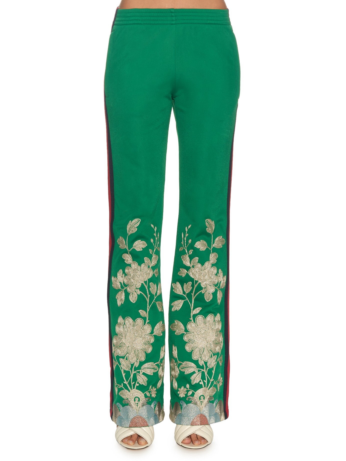 63d6d2d3cb22 Lyst - Gucci Embroidered Slim-Fit Track Pants in Green