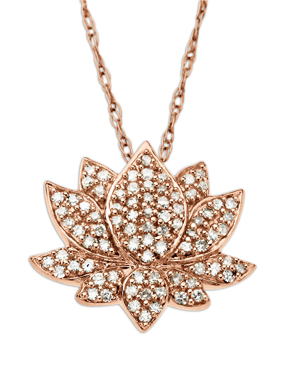 Lyst Lord Taylor 14 Kt Rose Gold Diamond Lotus Flower Pendant
