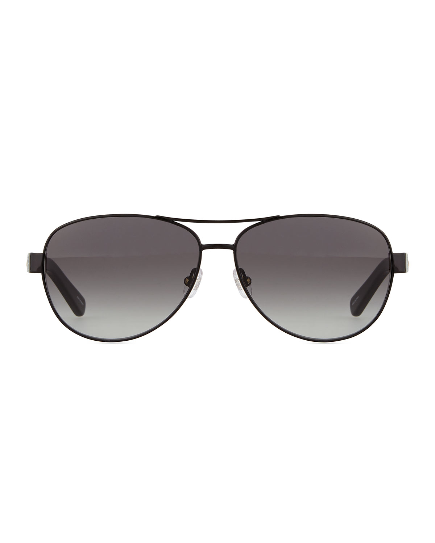 Lyst - Kate Spade Aviator Stripe-arm Sunglasses in Black