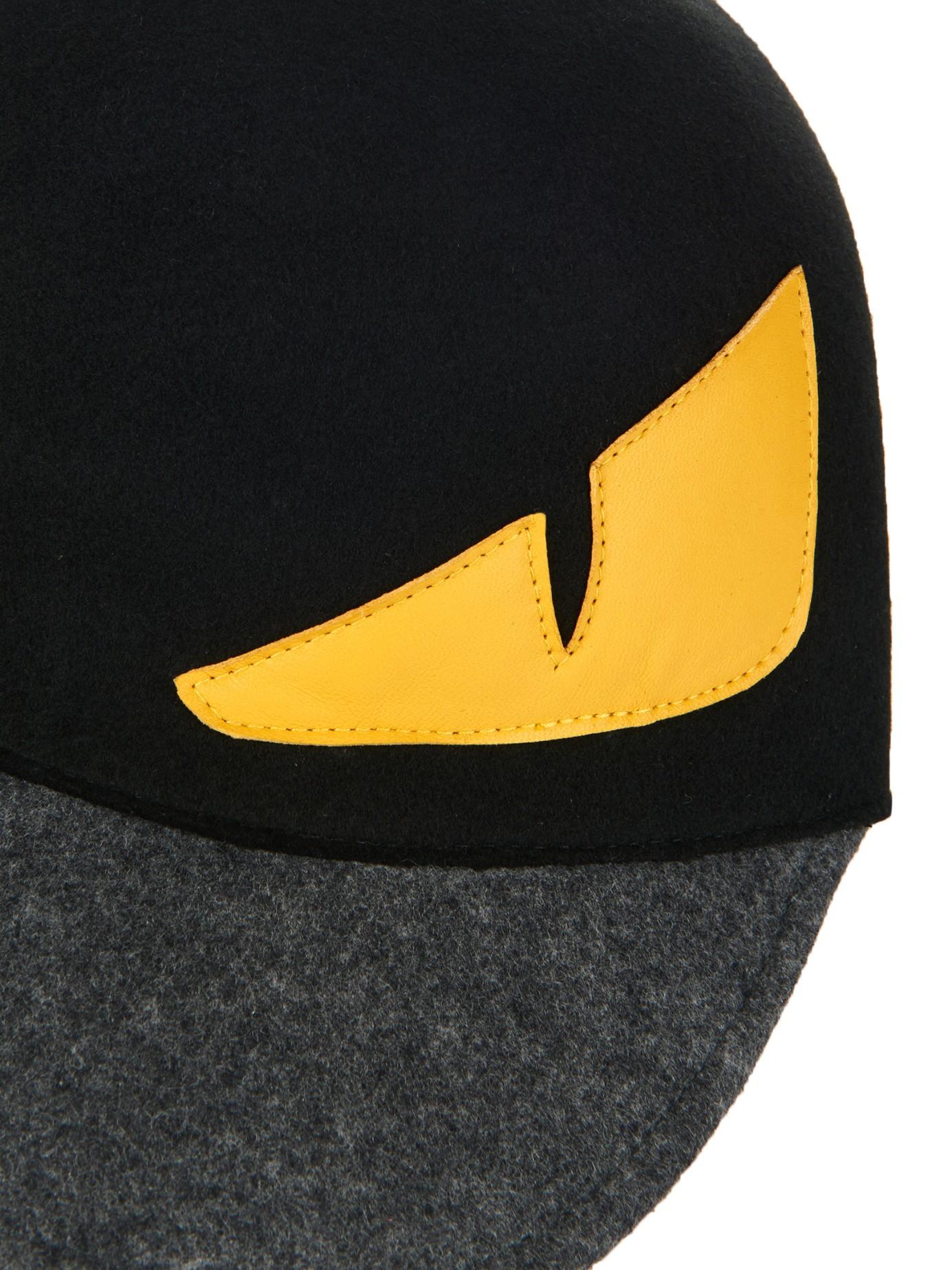 5bb9c07678bb3 Fendi Monster Eyes Wool-Felt Cap in Black for Men - Lyst