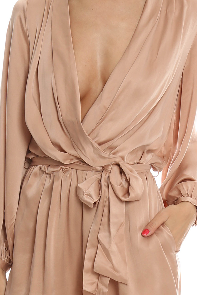 c768fe75b3e Lyst - Zimmermann Sueded Silk Wrap Playsuit in Pink