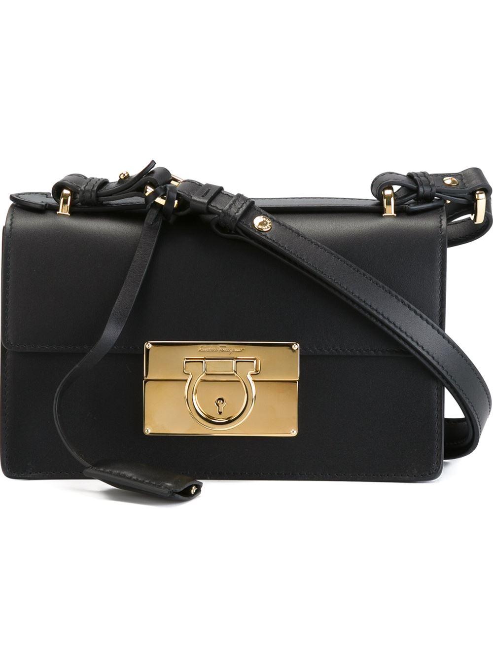 33e8c5950000 ... new style 0fd9d 6a8cf Ferragamo aileen Shoulder Bag in Black - Lyst ...