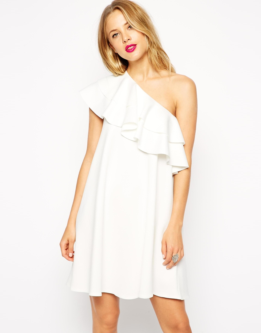 042107cbe16 Lyst - ASOS Swing Dress In Scuba With One Shoulder And Ruffle Detail ...