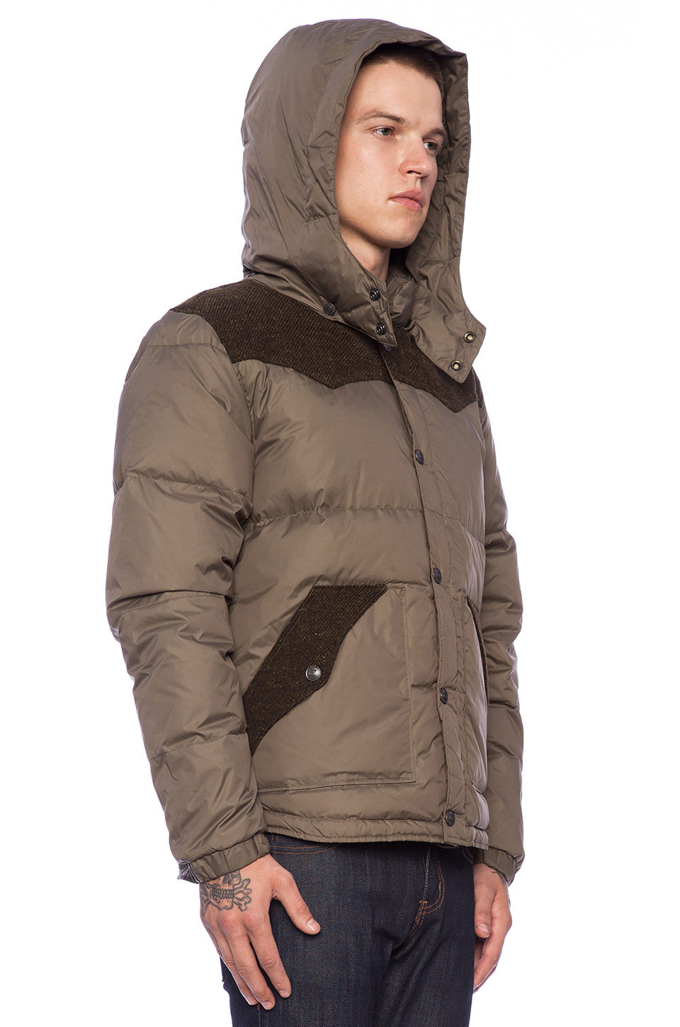 lyst true religion puffer jacket with contrast in natural for men. Black Bedroom Furniture Sets. Home Design Ideas
