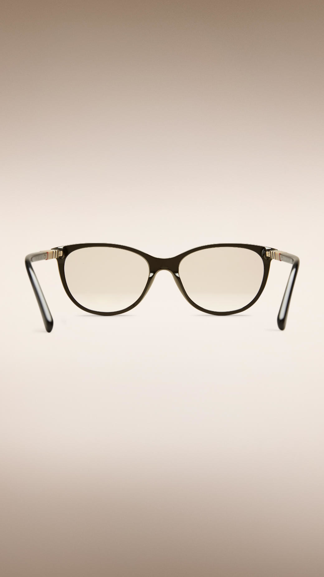 Lyst Burberry Check Detail Cat Eye Optical Frames In Black 7ae38af4cd6b