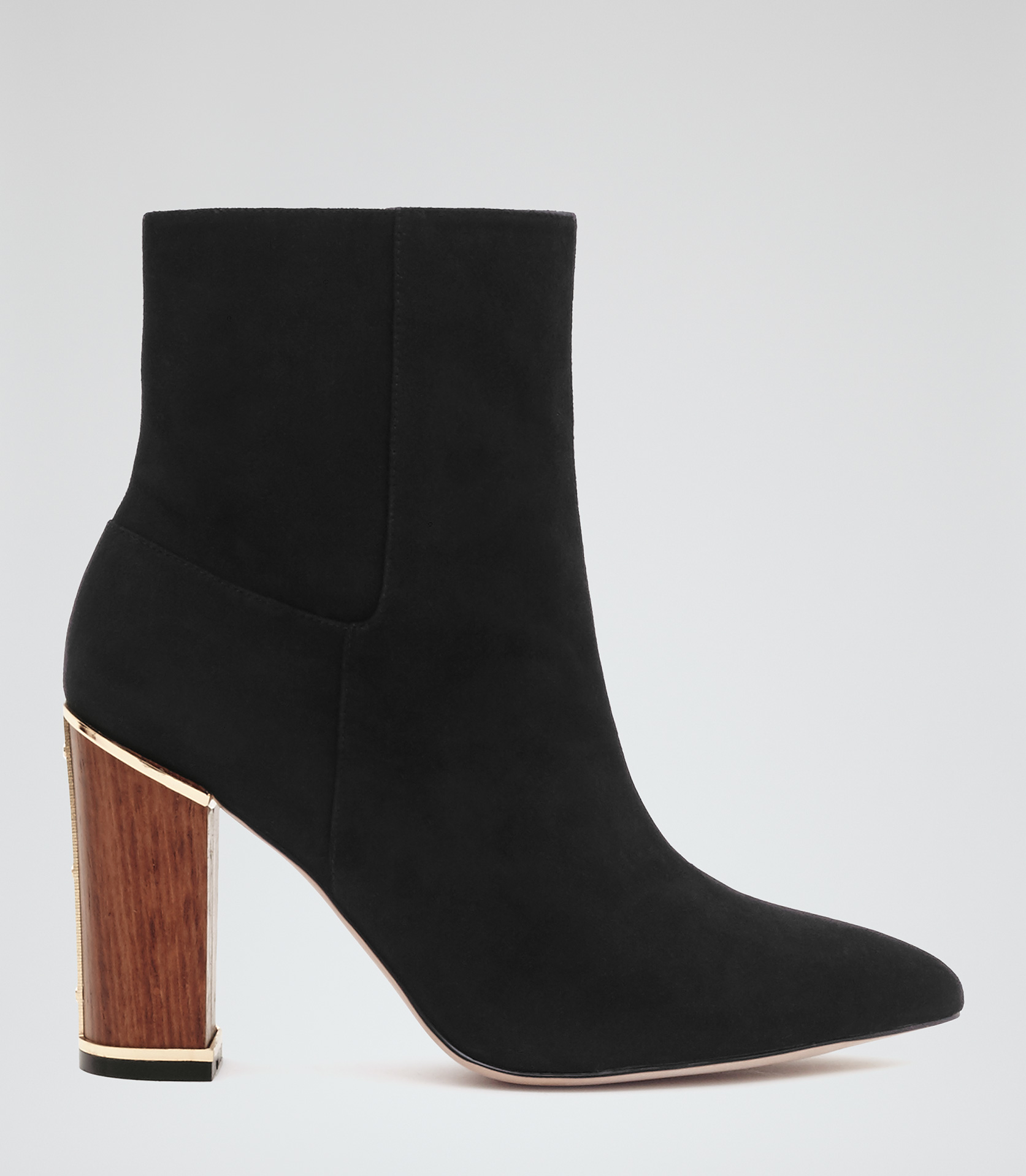 reiss marley wooden heel ankle boots in black lyst