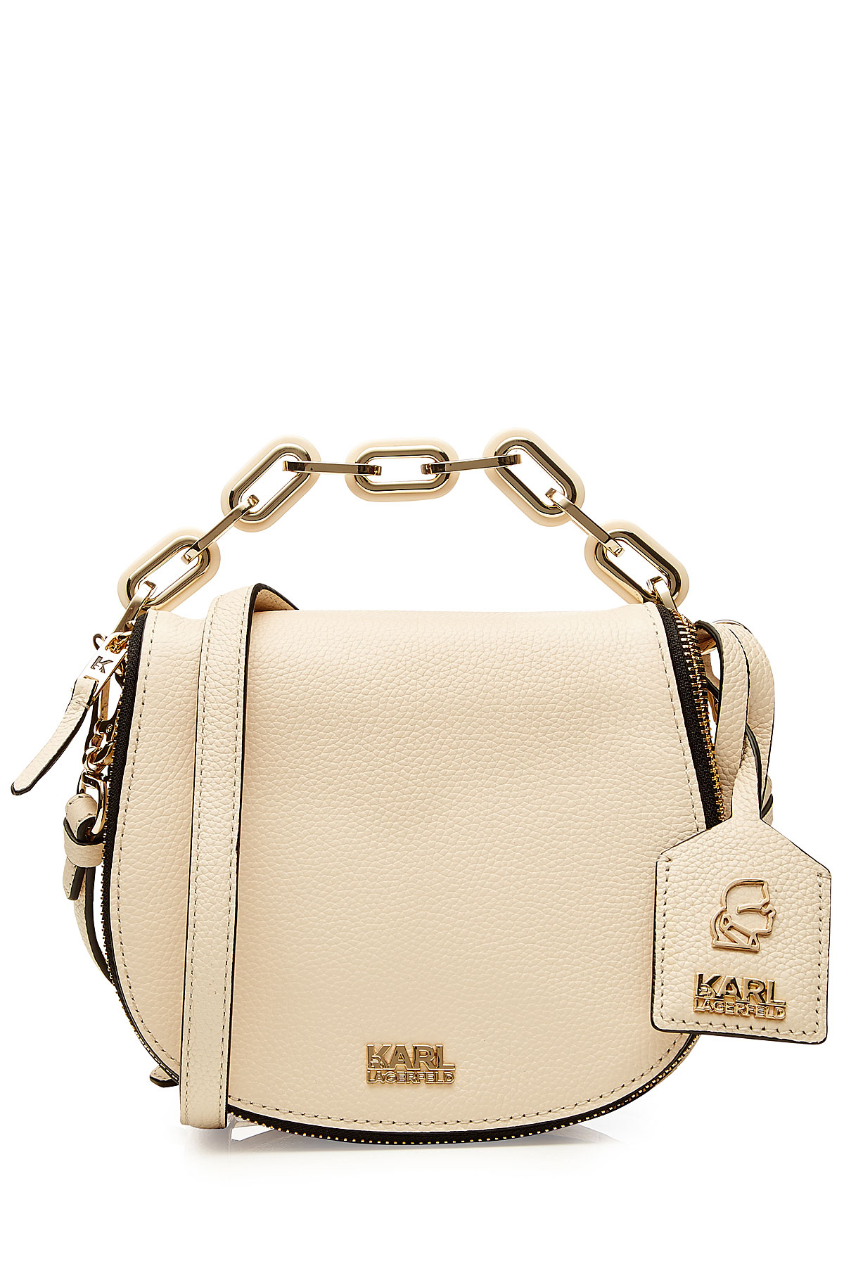 3274add838f Karl Lagerfeld Grainy Leather Small Satchel Bag - Beige in Natural ...