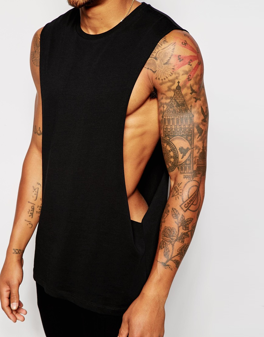 Lyst - ASOS Sleeveless T-shirt With Extreme Dropped Armhole in Black ... f39d28770eb4