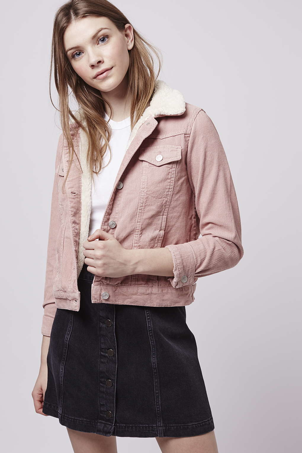 Lyst Topshop Moto Pink Cord Borg Western Jacket In Pink
