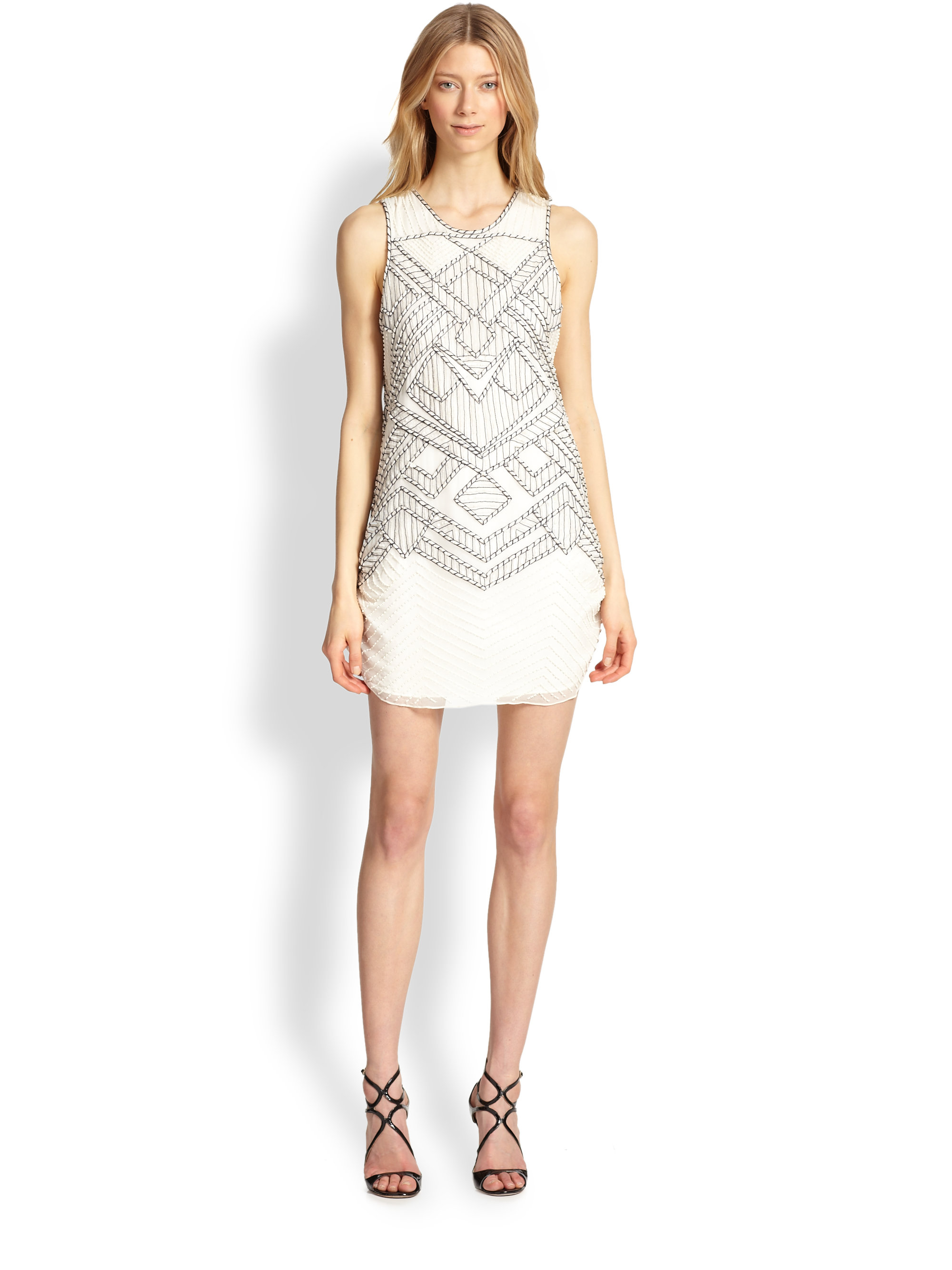 Parker Allegra Silk Beaded & Embroidered Dress in White | Lyst