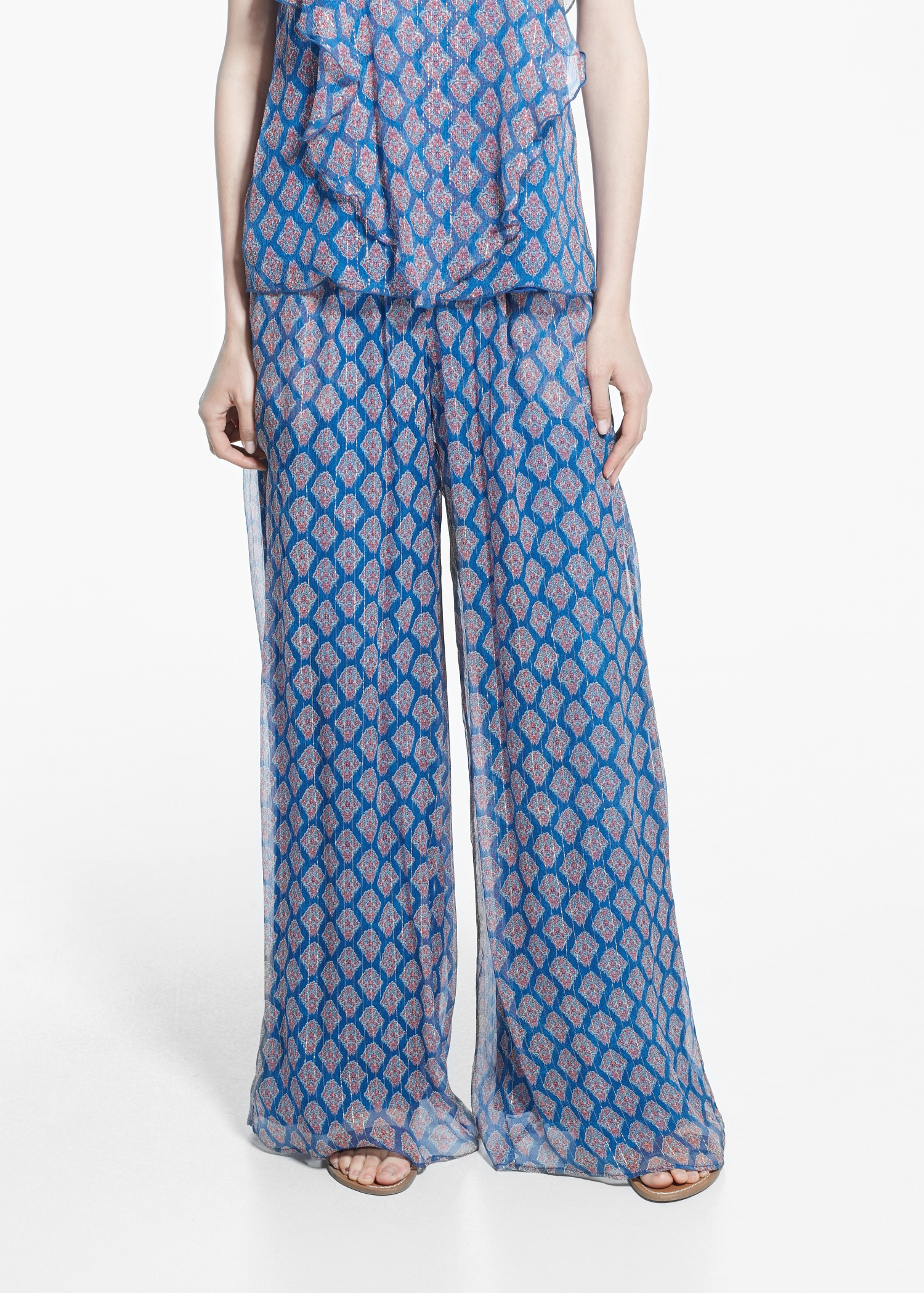 lyst mango silk palazzo trousers in blue. Black Bedroom Furniture Sets. Home Design Ideas