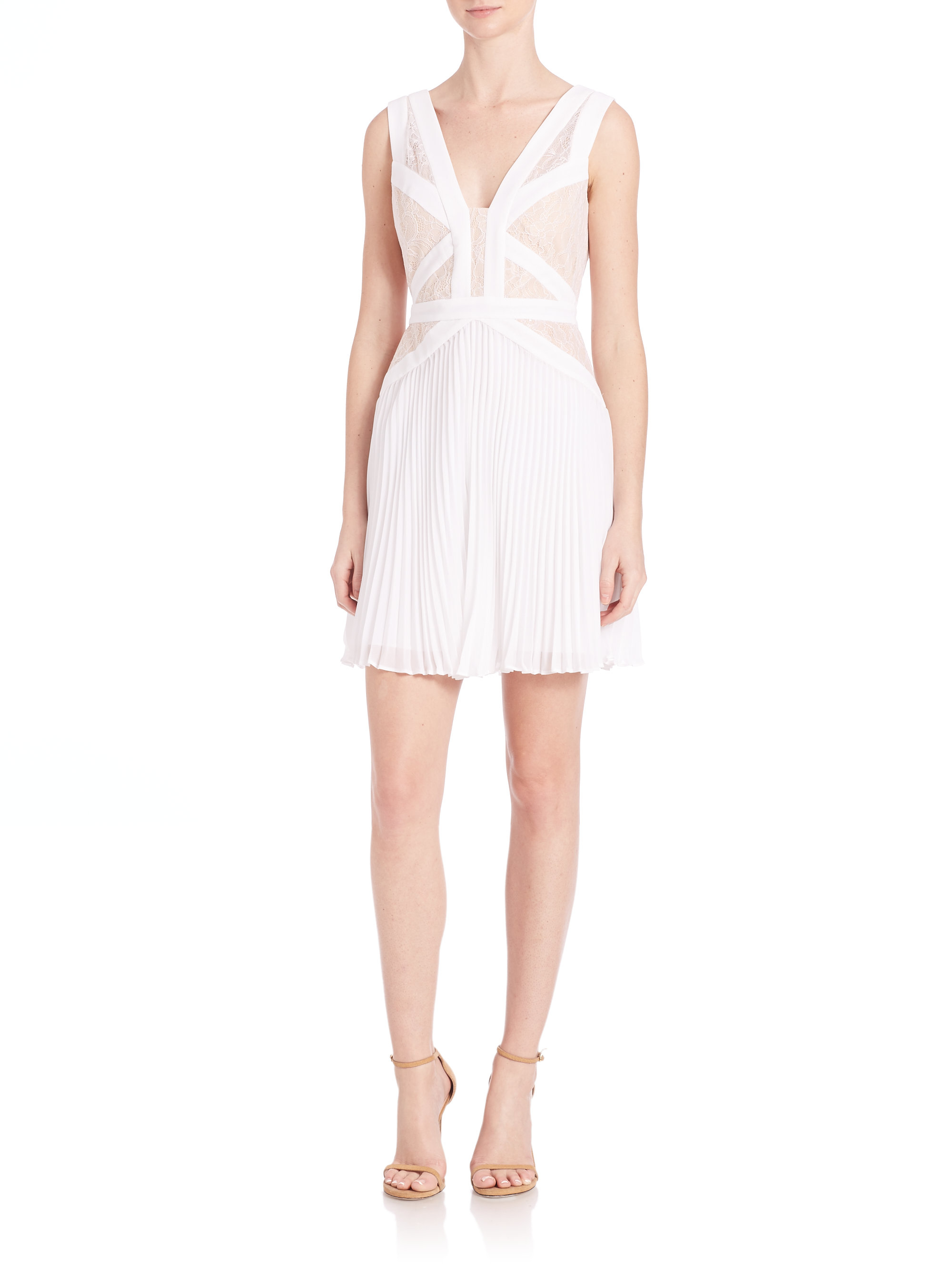 a08b94ad123 BCBGMAXAZRIA Kinsey Lace-blocked Pleated Dress in White - Lyst