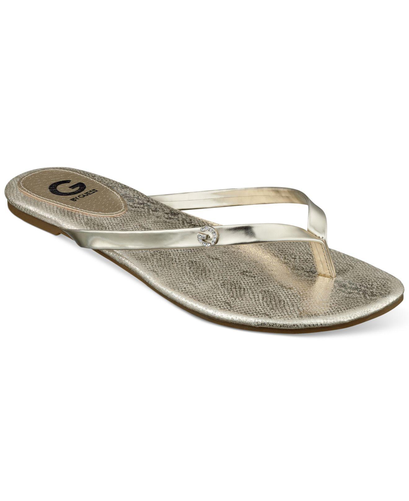 G By Guess Womens Bayla Flip Flops In Metallic  Lyst-8174