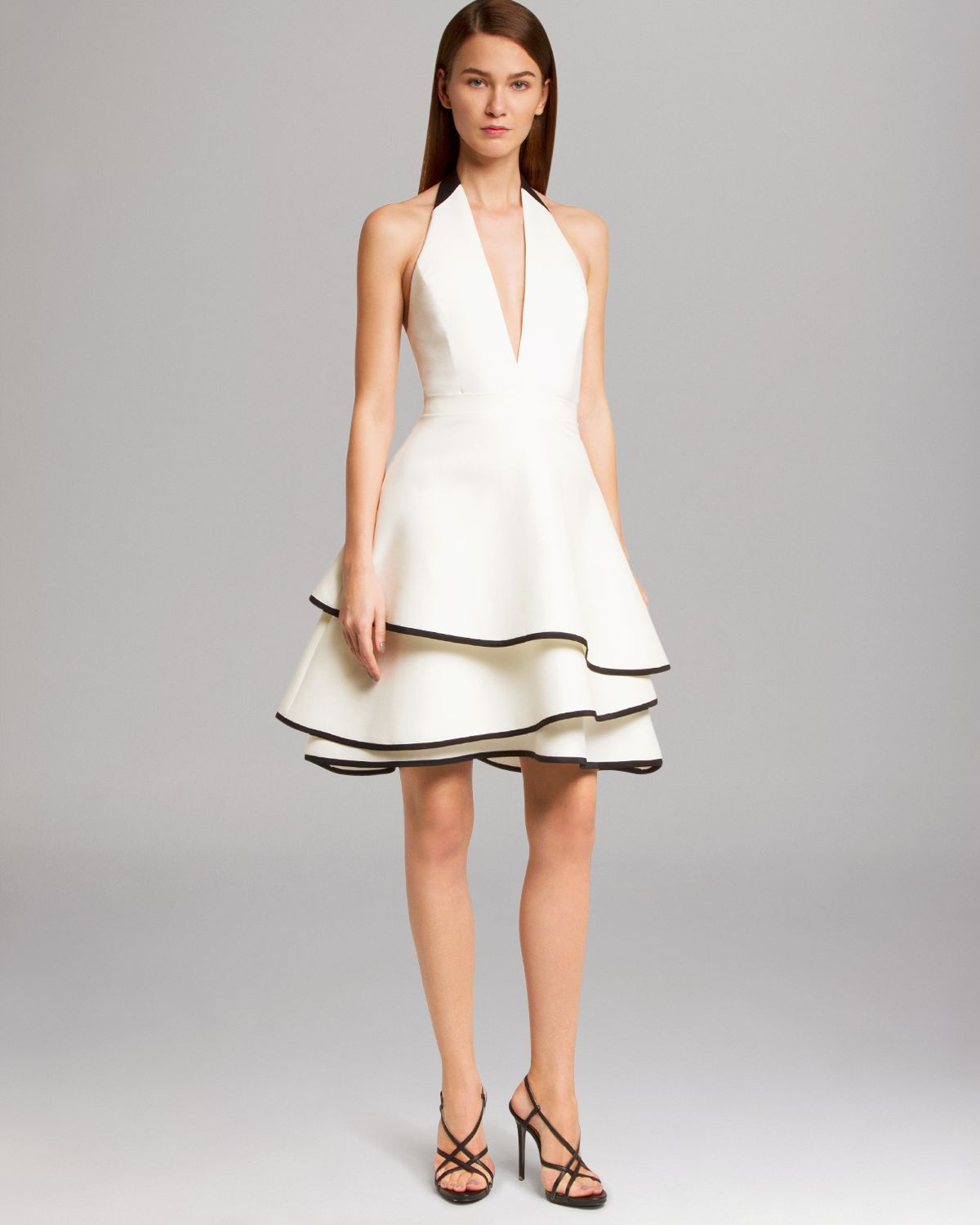 Halston Dress Halter Neck Layer Skirt in White | Lyst