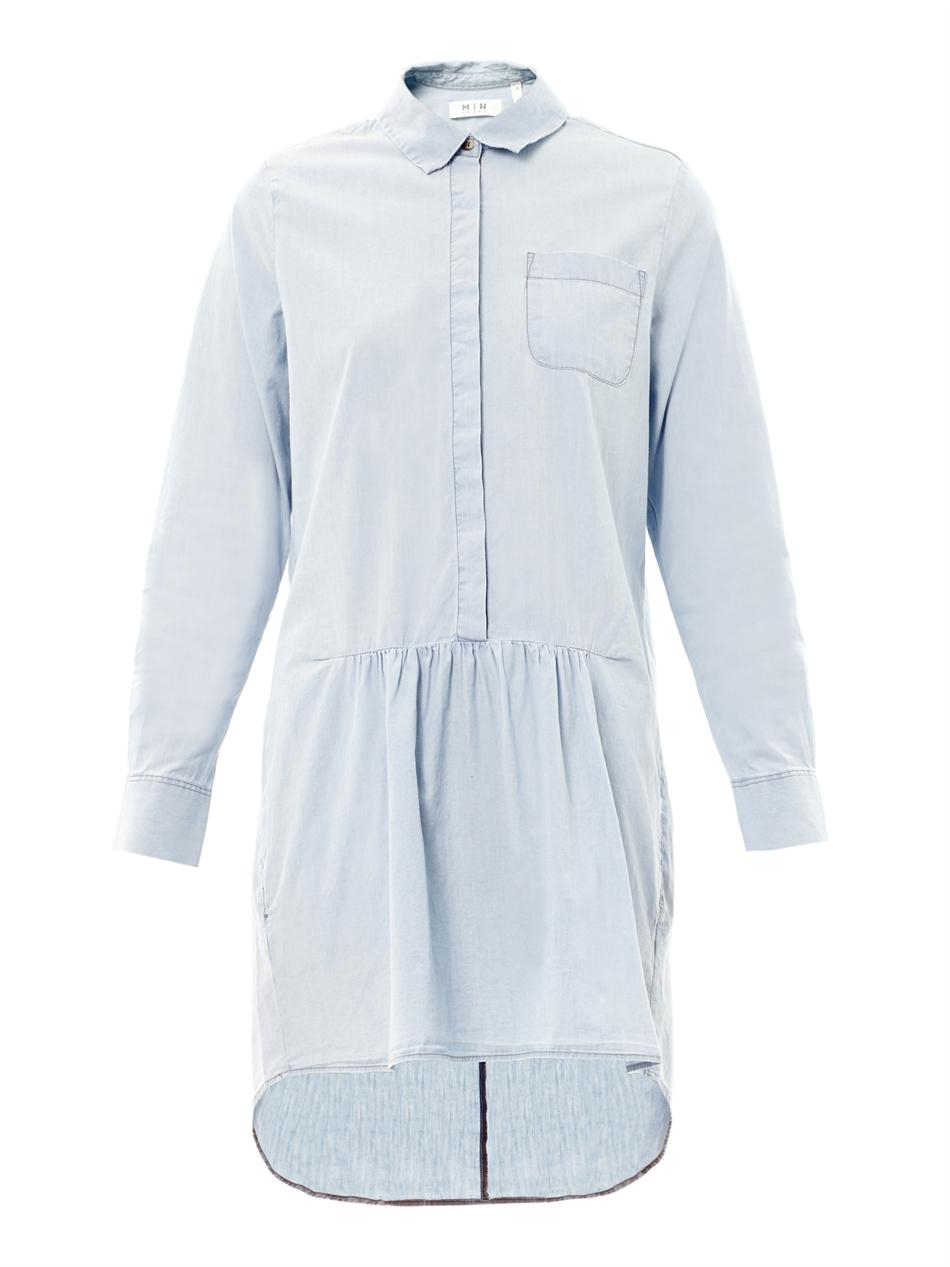Mih jeans gathered chambray shirt dress in blue lyst for Chambray jeans