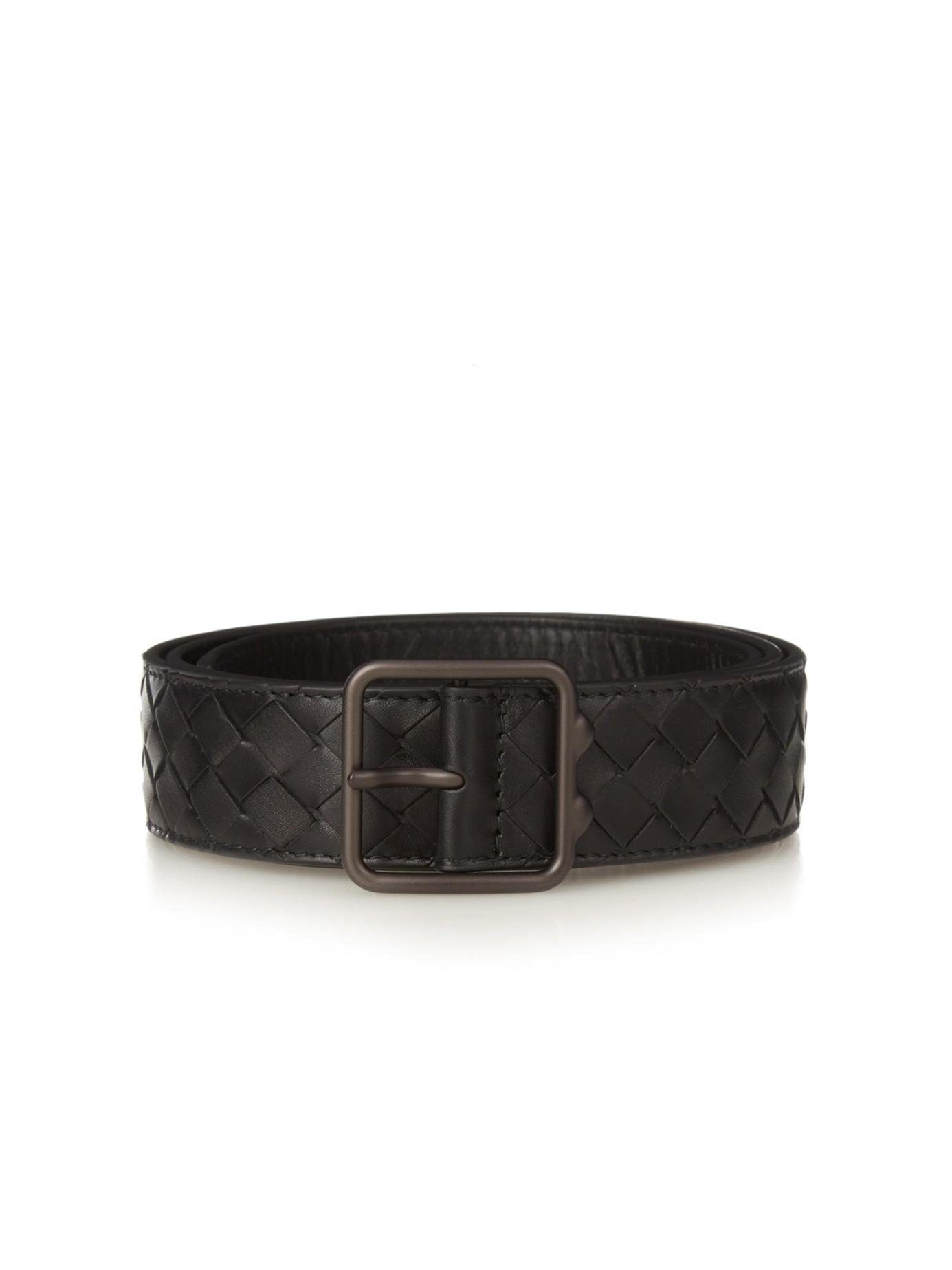 Intrecciato Leather Belt - Black Bottega Veneta hKIlo