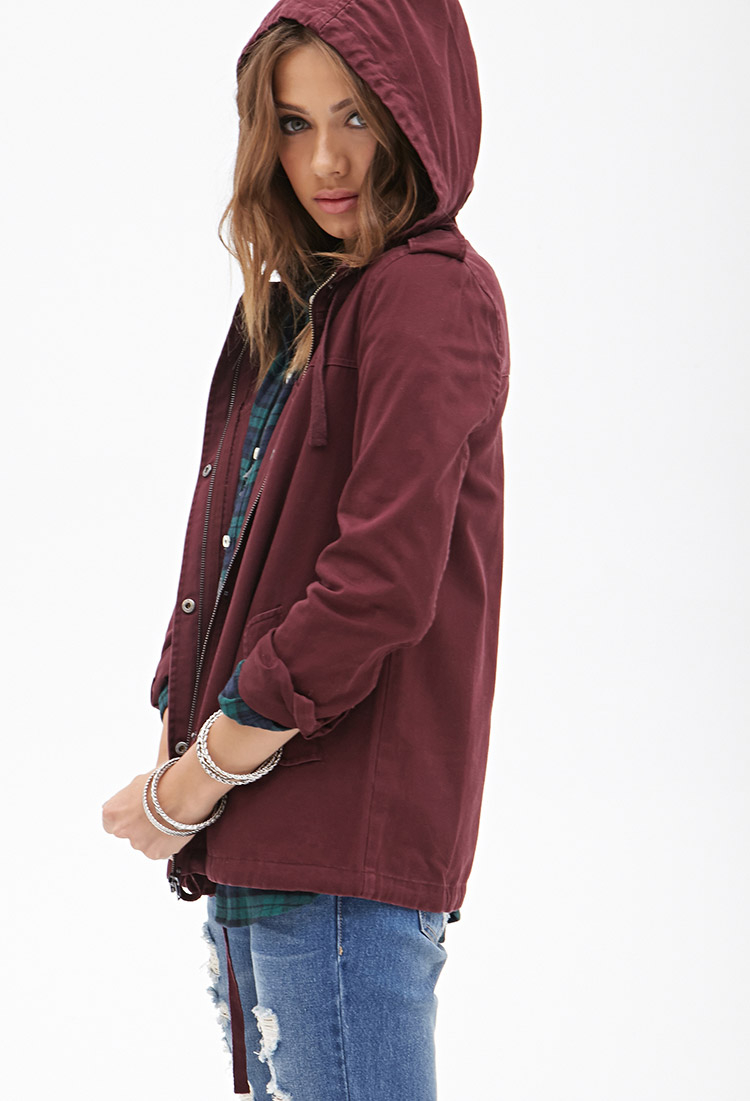 Forever 21 Hooded Utility Jacket In Purple Lyst