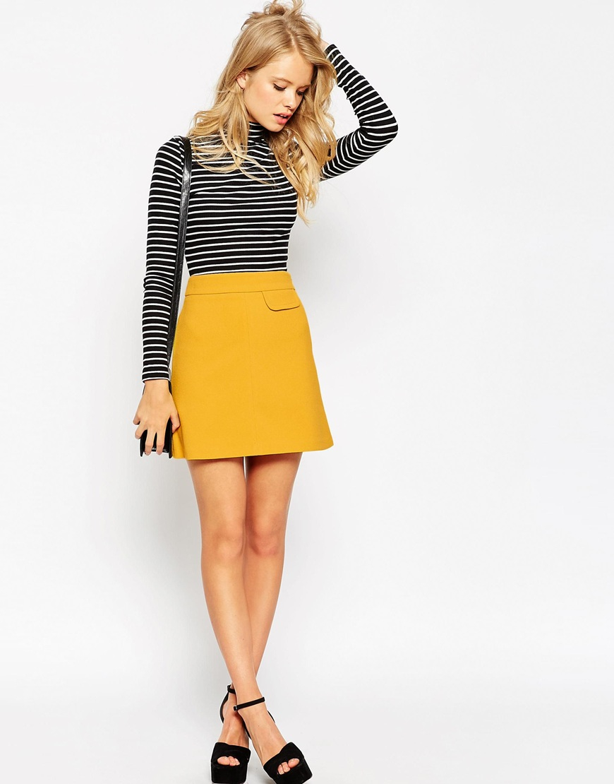 Asos A-line Skirt With Pocket Detail in Yellow | Lyst