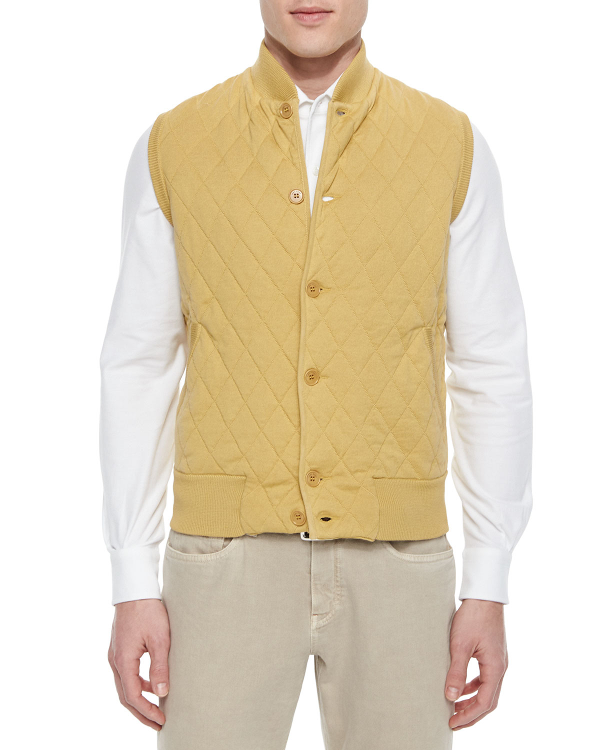 Lyst Loro Piana Quilted Button Front Sweater Vest In Yellow For Men
