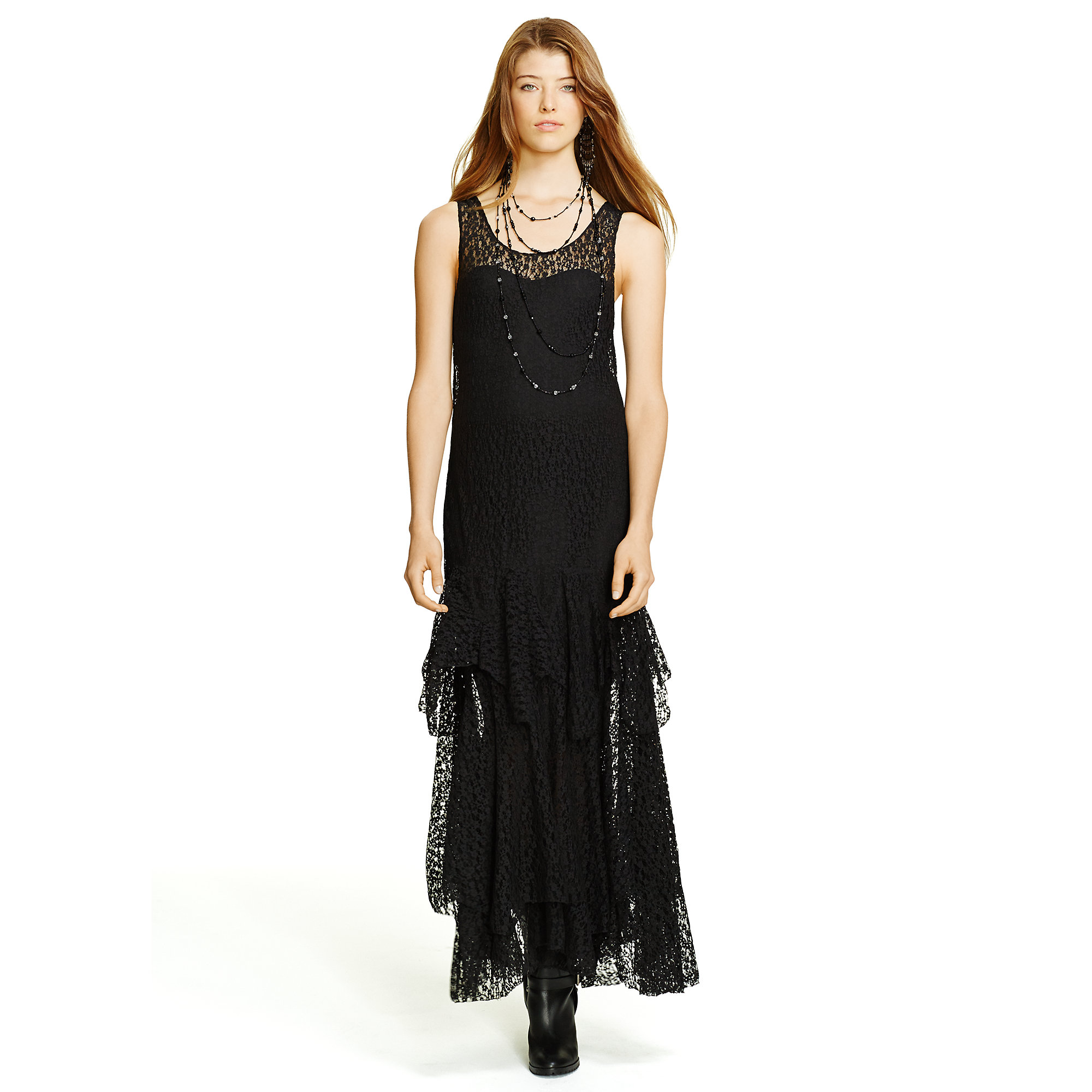 Polo ralph lauren Pointelle-knit Maxidress in Black