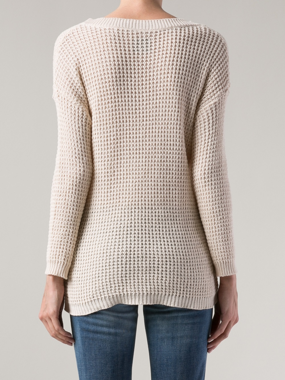 Anine bing Open Knit Sweater in Natural | Lyst