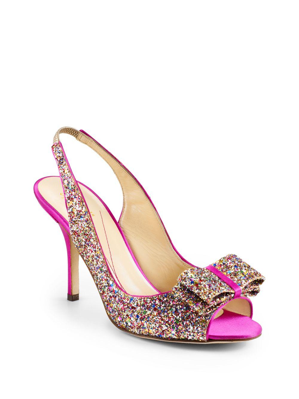 47ab731f4cb Lyst - Kate Spade Charm Glitter Bow Slingback Pumps