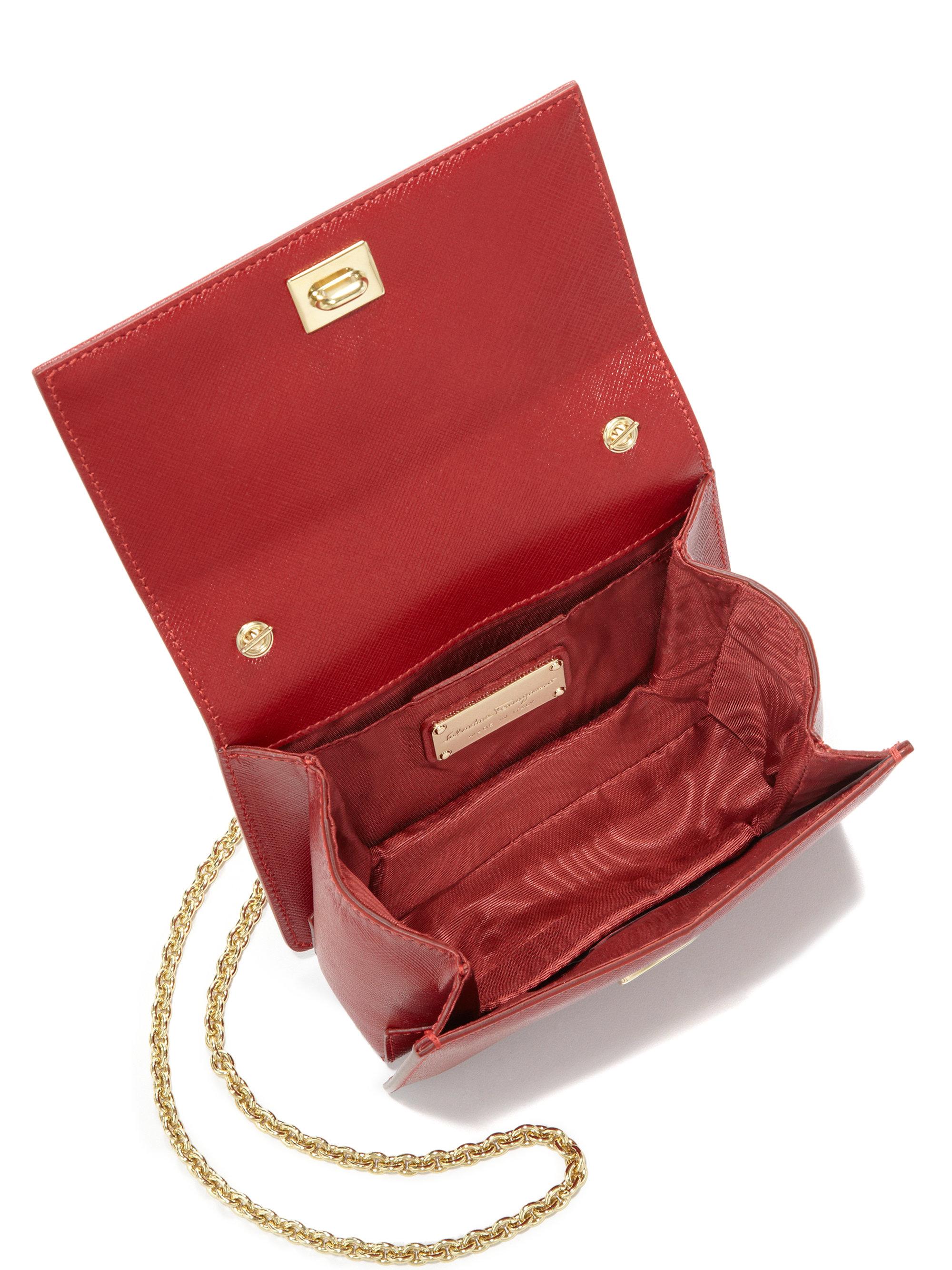 30e63b1bd58 Lyst - Ferragamo Ginny Mini Square Saffiano Leather Crossbody Bag in Red