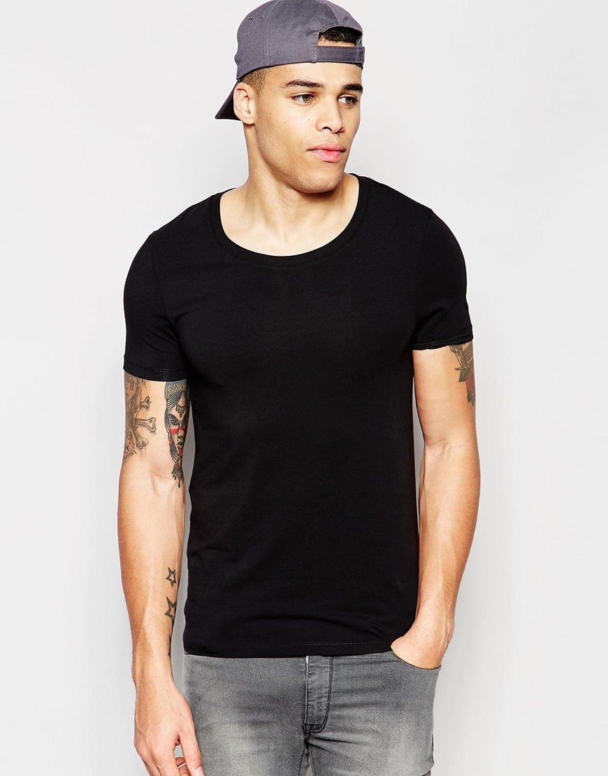 a8ac8e38 ASOS Muscle Fit T-shirt With Scoop Neck And Stretch In Black in ...