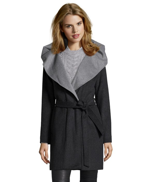 Dkny Charcoal Wool Blend Hooded Shawl Collar Belted Wrap Coat in ...