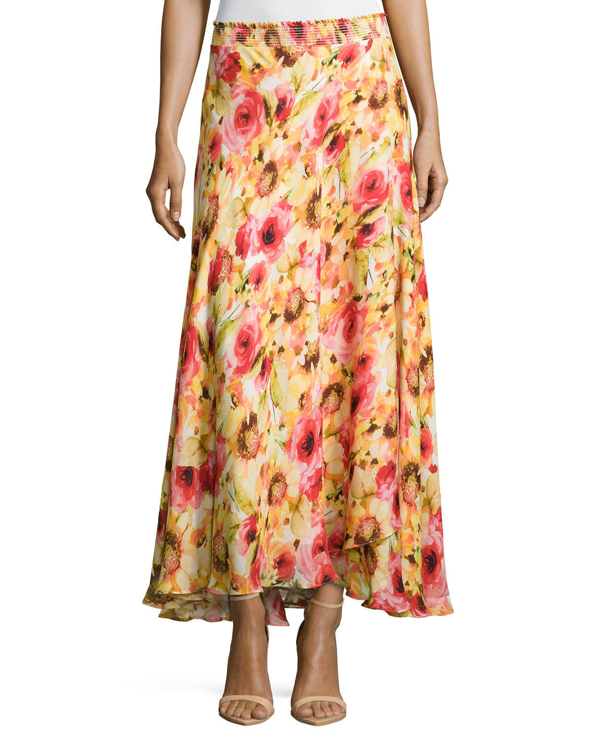 haute hippie floral print maxi skirt in orange lyst