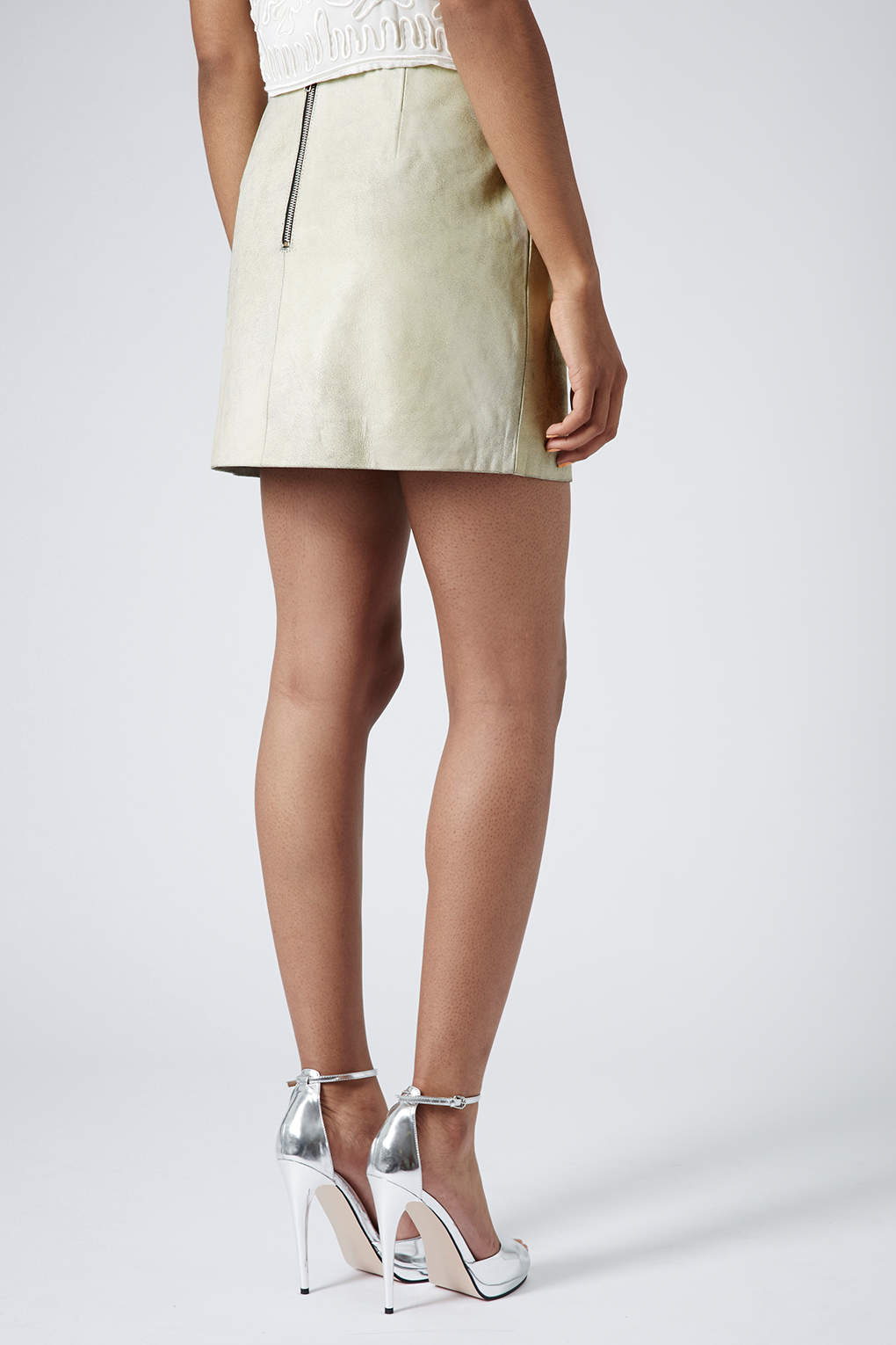 topshop cracked leather mini skirt in white lyst