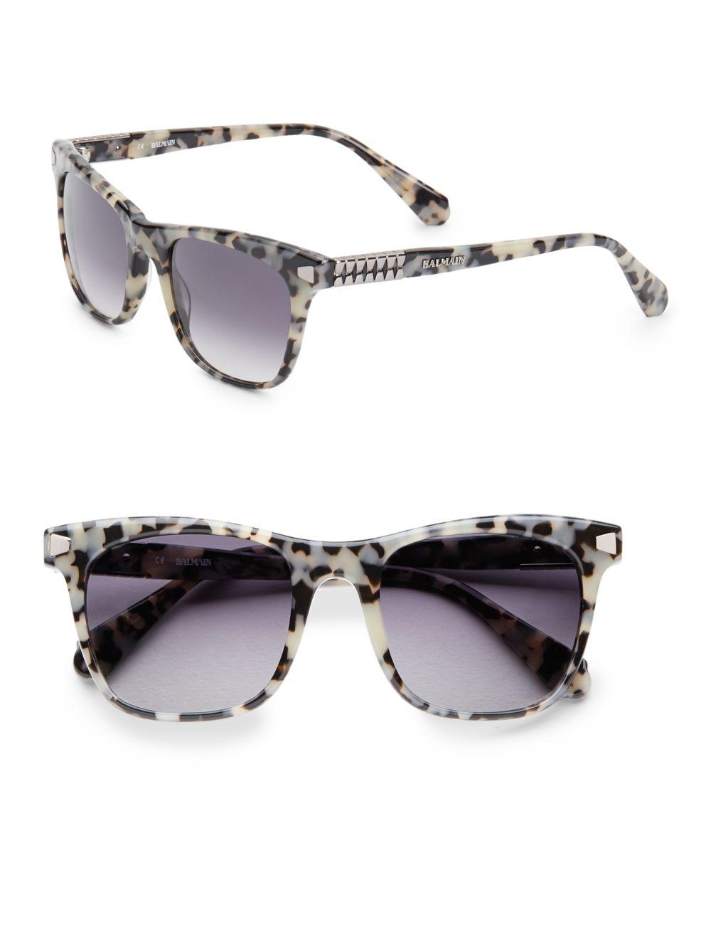df9cfa1c8b0d2 Balmain 52Mm Tortoise Shell Wayfarer Sunglasses - Lyst
