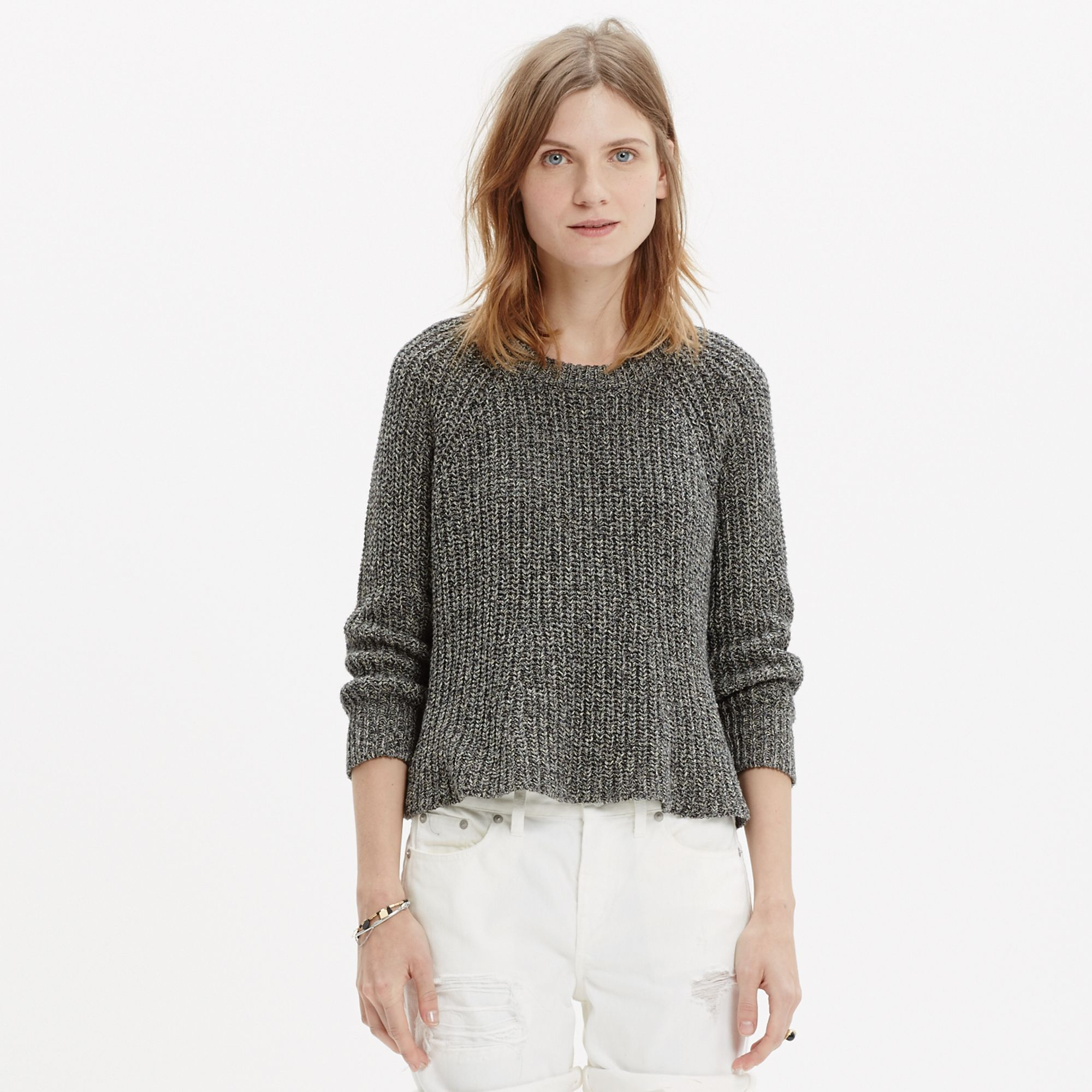 Madewell Marled Swing Crop Sweater in Gray | Lyst