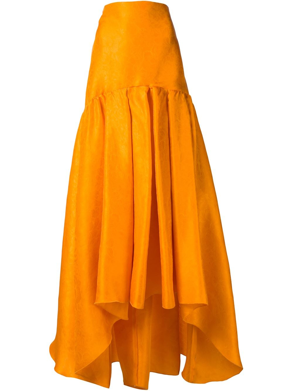 rosie assoulin yellow pleated high low skirt lyst