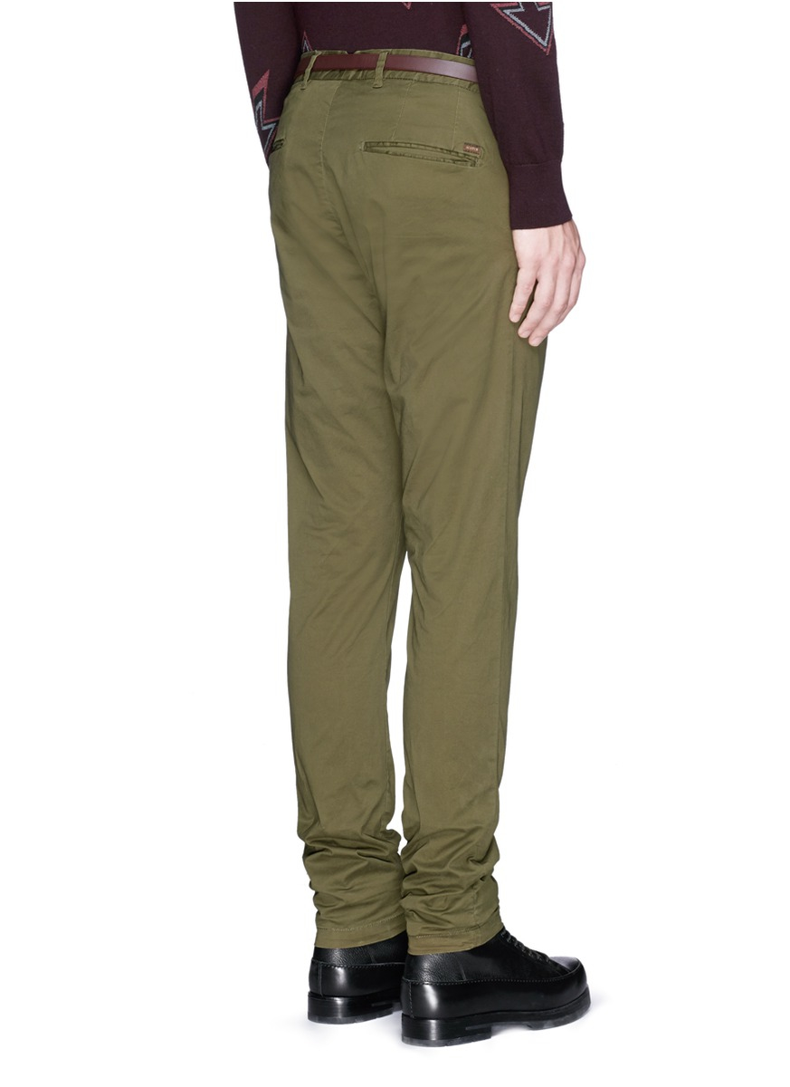 Scotch Amp Soda Stuart Slim Fit Stretch Chinos In Green For Men Lyst