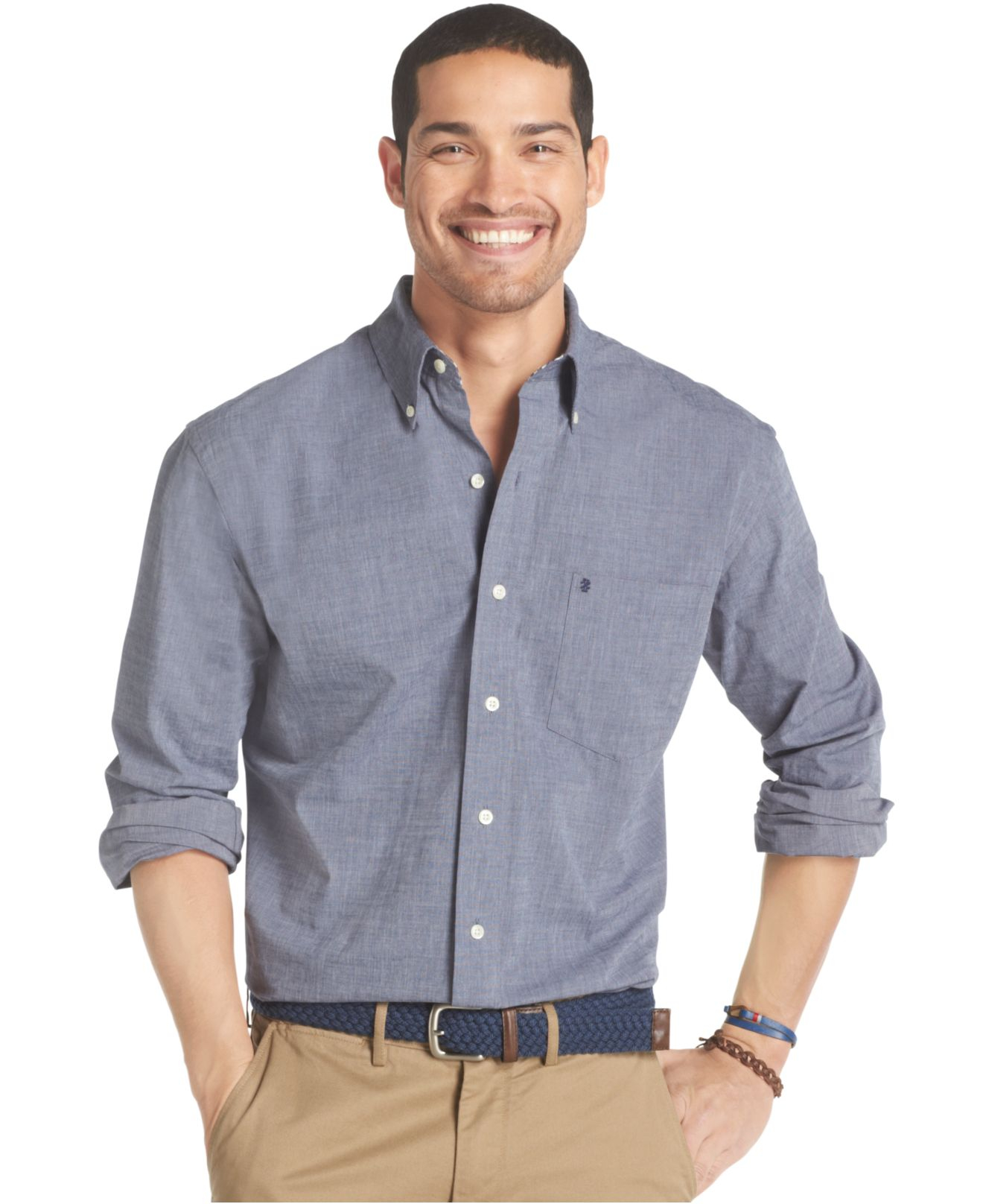 izod big and tall essential solid shirt in blue for men