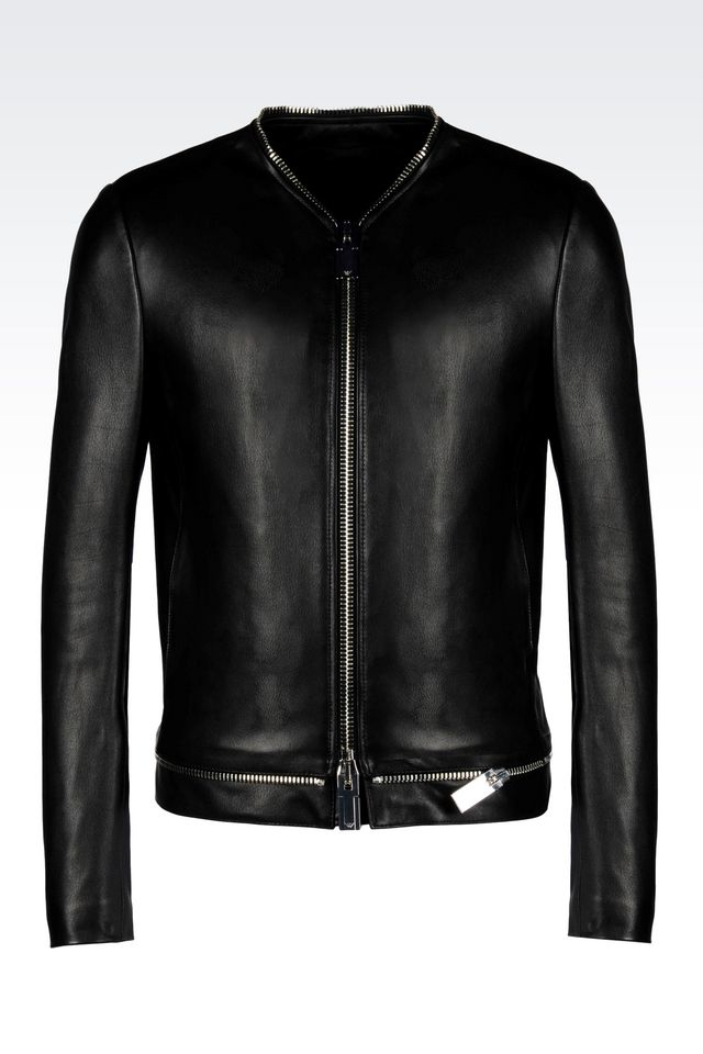 Lyst Emporio Armani Light Leather Jacket In Black For Men