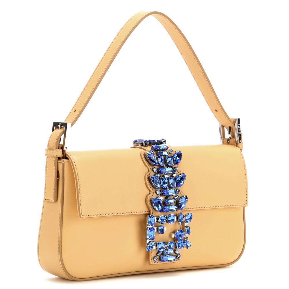 Fendi Baguette Embellished Leather Shoulder Bag in Yellow ...