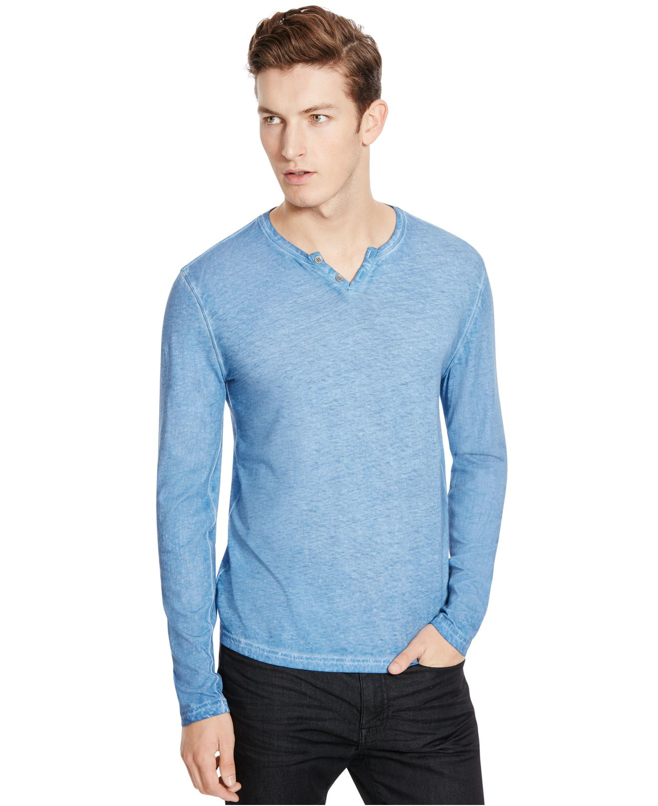 Lyst - Kenneth Cole Long-sleeve Washed Henley in Blue for Men