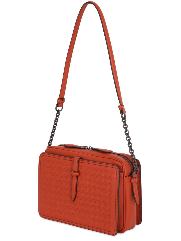 bottega veneta intrecciato nappa leather shoulder bag in