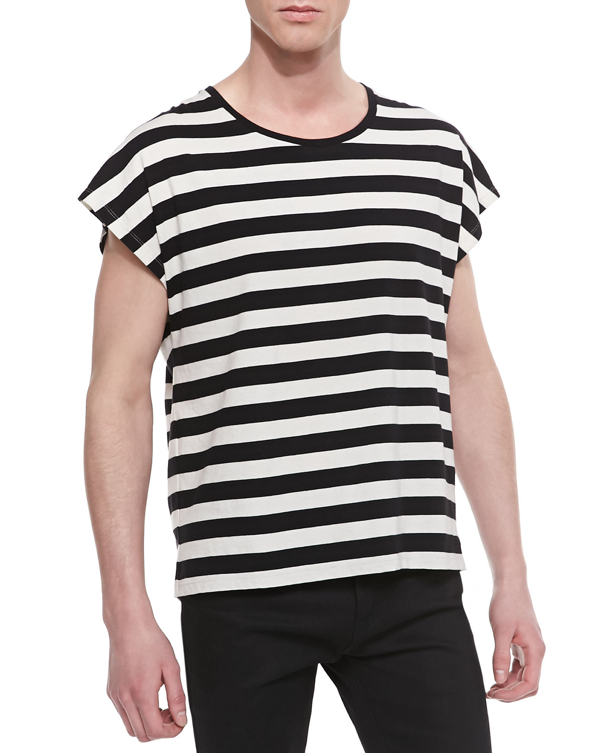 Striped Tee in Black,Stripes,White Saint Laurent