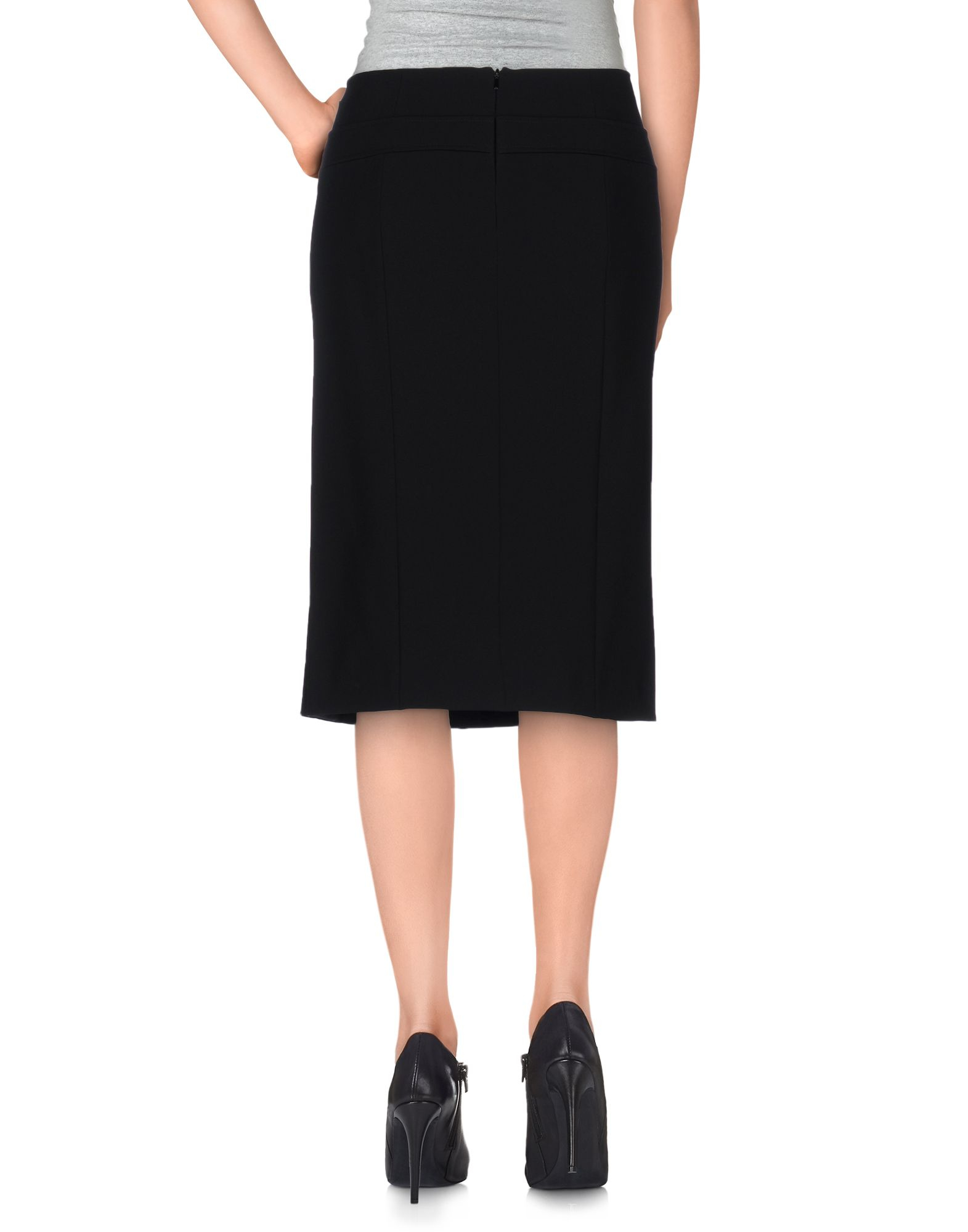 moschino knee length skirt in black save 73 lyst