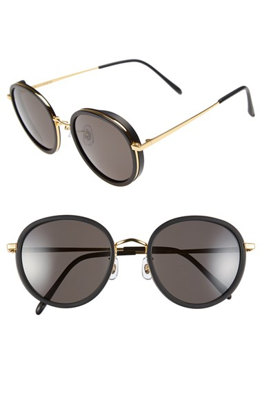 d1e4e7acecf65 Gentle Monster 53mm Round Retro Sunglasses - Solid Black  Black Lens ...