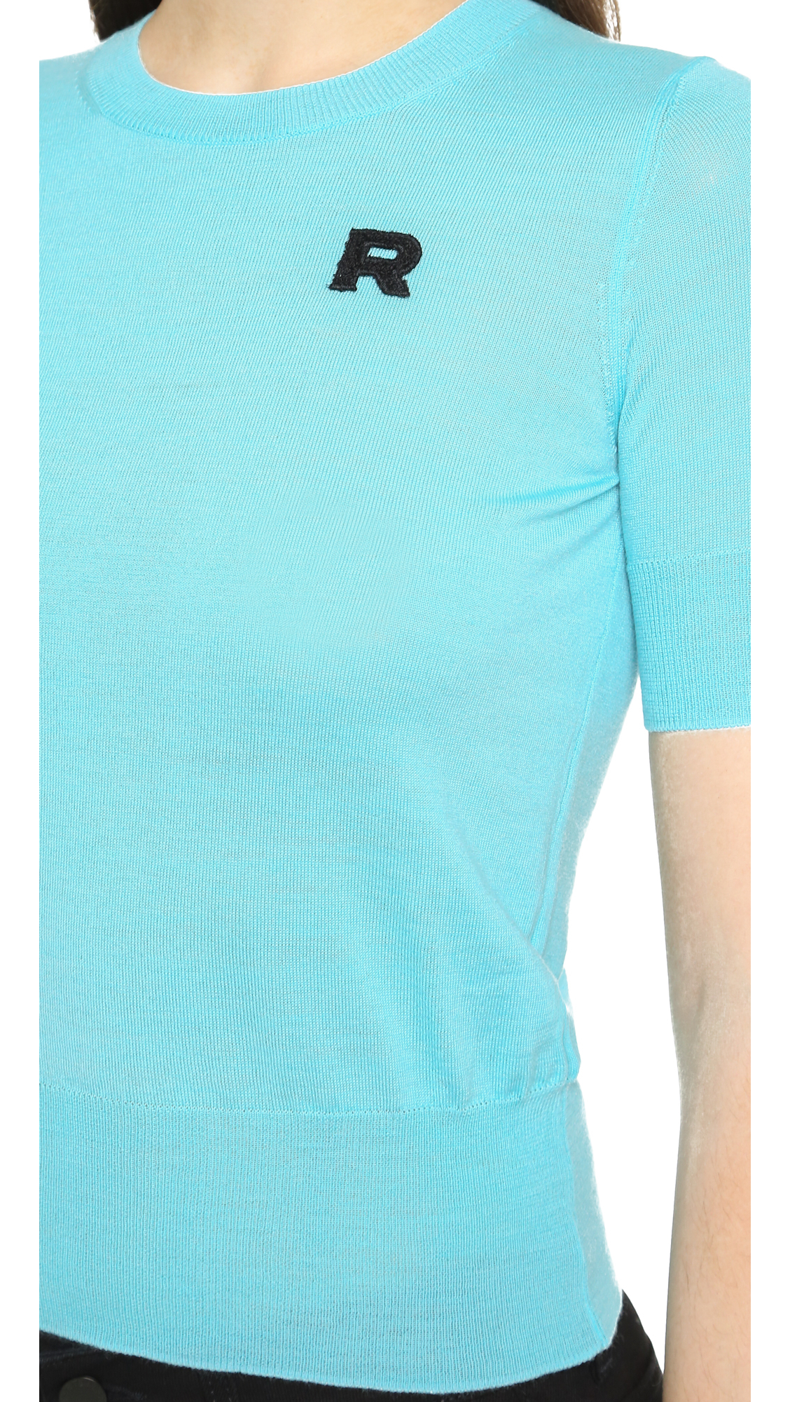 Rochas Short Sleeve Sweater - Turquoise in Blue | Lyst