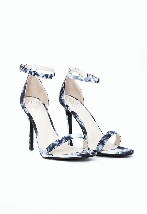 952bfbb1029e Missguided Clara Strappy Heeled Sandals Marble Print in Blue - Lyst