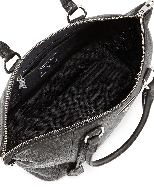 Prada Vitello Daino Satchel Bag in Black | Lyst
