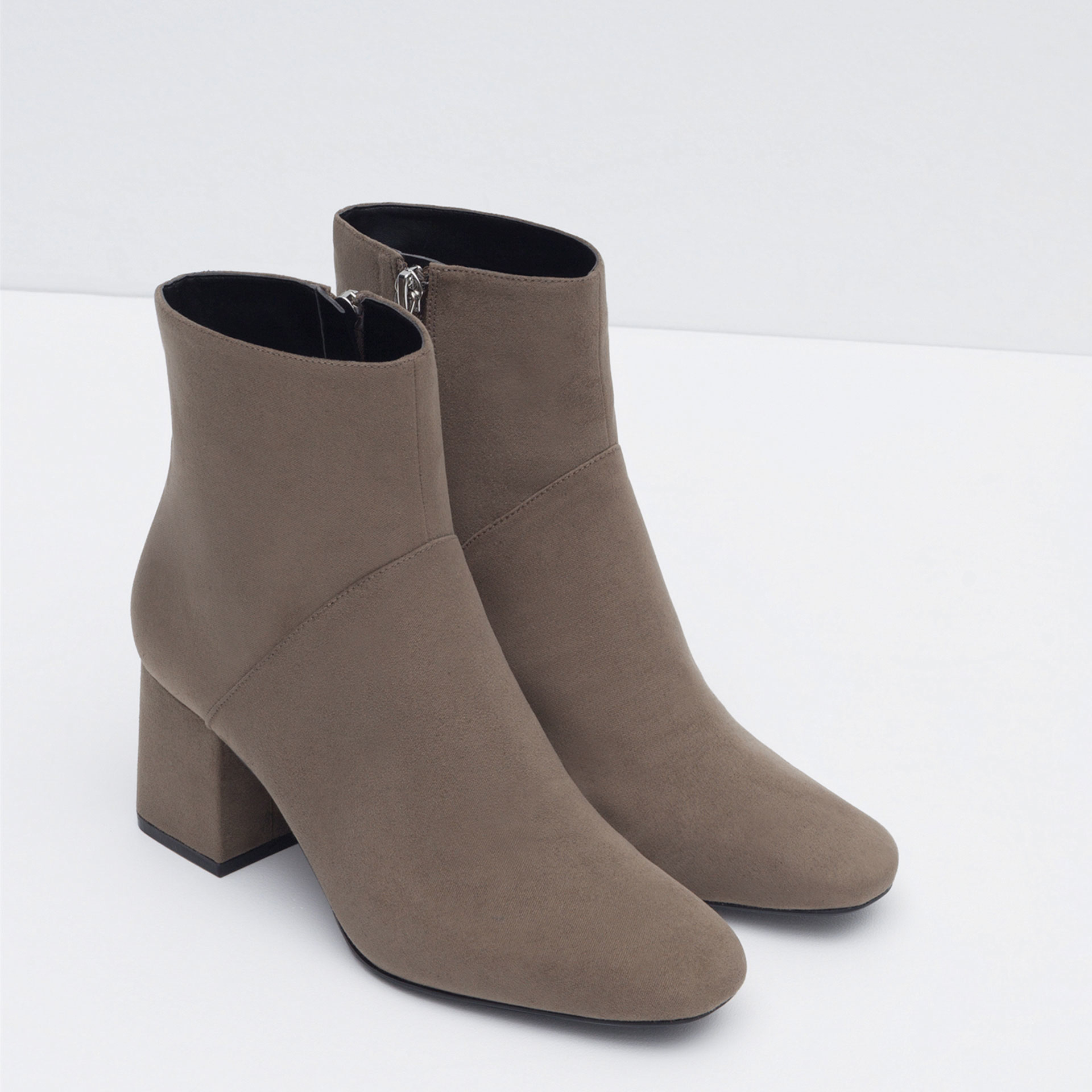 zara high heel pointed ankle boots in gray lyst
