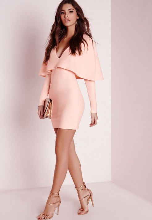 Missguided Crepe Long Sleeve Cape Dress Nude in Pink  Lyst