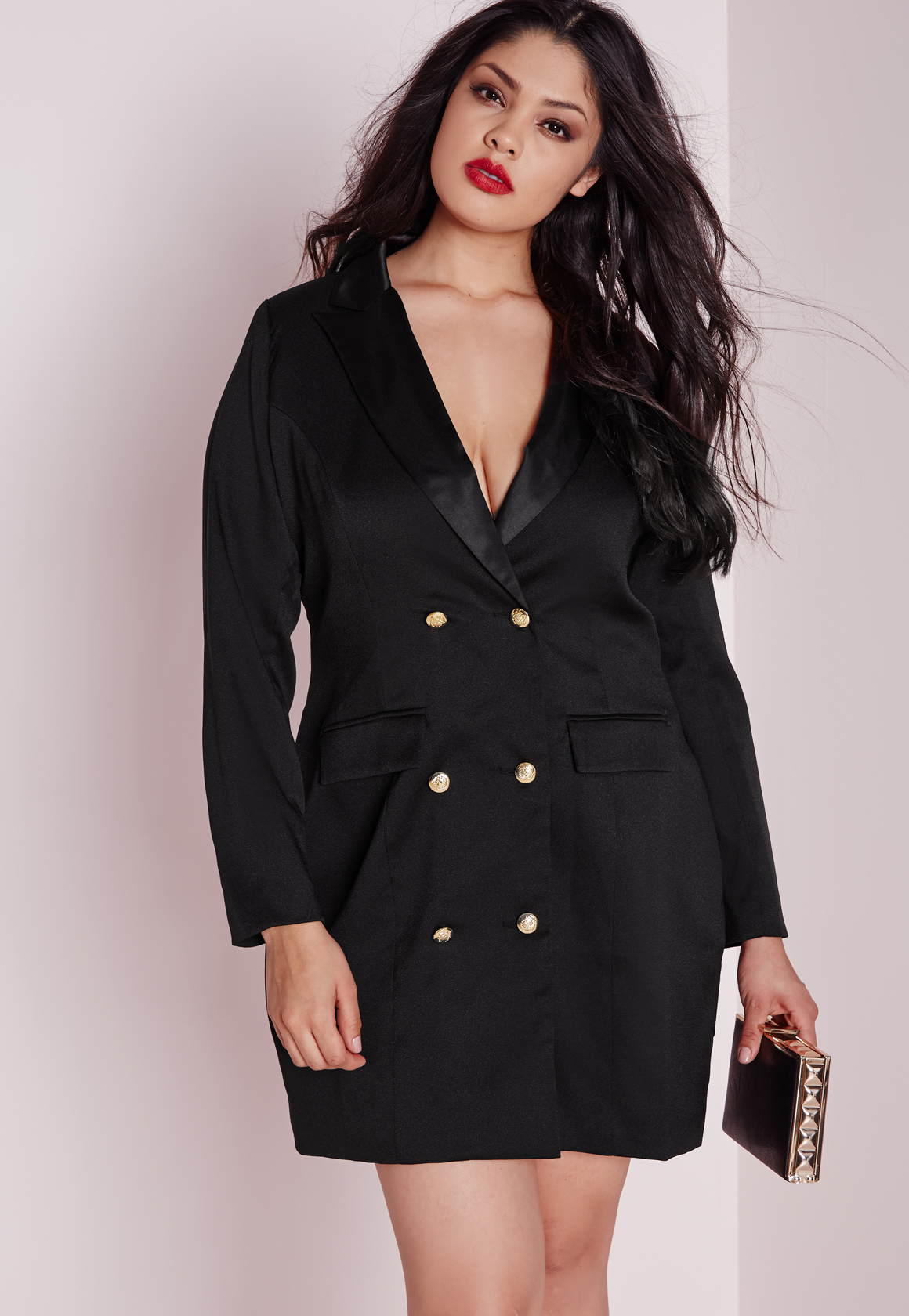 Missguided Plus Size Tuxedo Satin Collar Dress Black in Black - Lyst